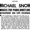 michael snow-musics for piano, whistling, microphone & tape recorder 2lp